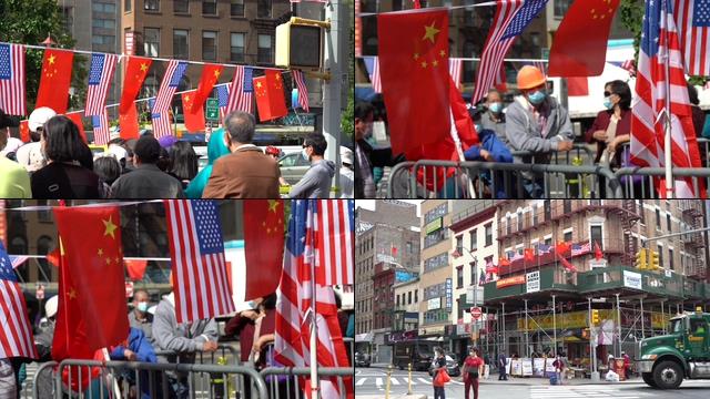 唐人街中美国旗视频素材