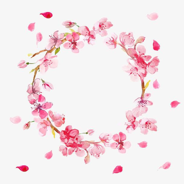 透明手绘花环PNG图片