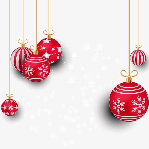透明红色圣诞吊球矢量图PNG图片
