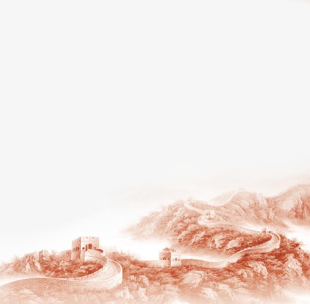 透明高清手绘水墨风长城PNG图片