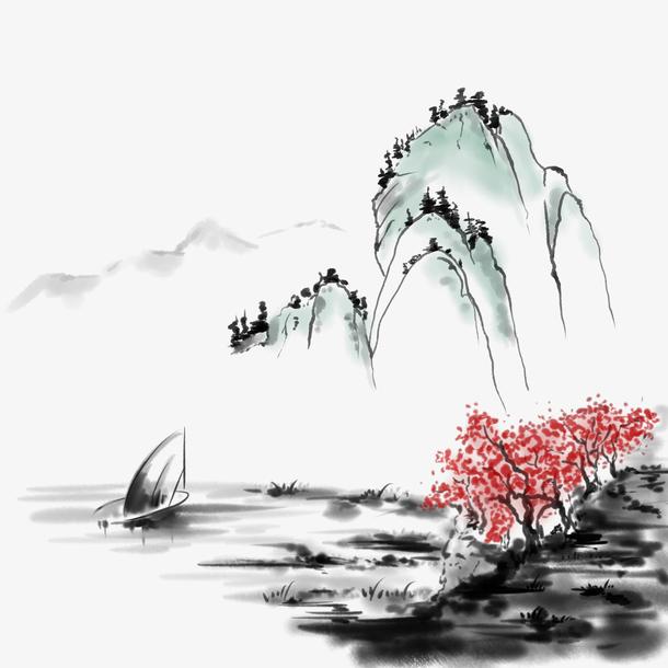 透明中国风手绘水墨风景山水徽派建筑13PNG图片