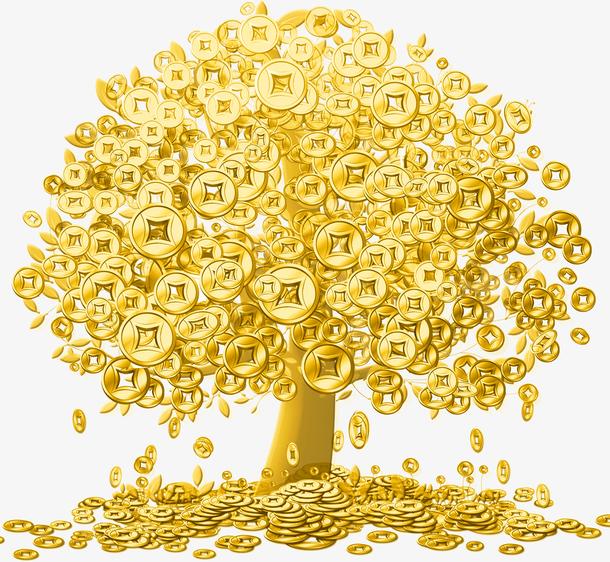 透明摇钱树金币铜钱PNG图片