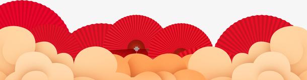 PNG图片春节红色扇子装饰素材下载