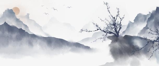 免扣中国风手绘水墨风景山水徽派建筑4PNG素材