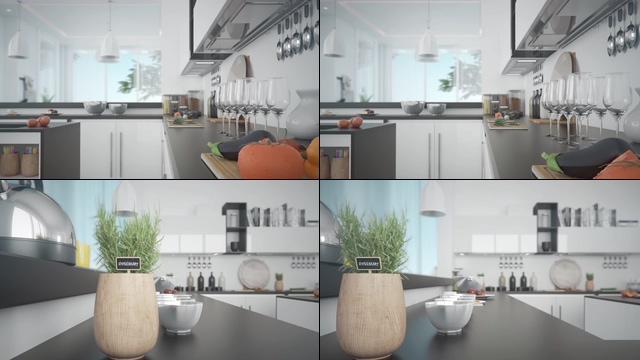 现代干净的厨房视频素材