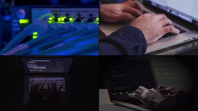 网线灯光闪烁黑客攻击视频素材