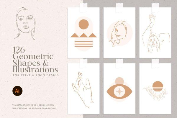 精品时尚高端优雅的抽象女性艺术线条矢量插画海报设计大集合-AI, EPS, PNG, SVG源文件,编号:82629022