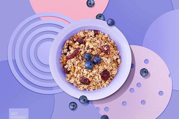 精品蓝莓烘焙燕麦片广告海报设计模板psd源文件,编号:82631774