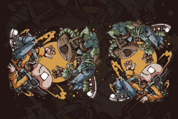 精品时尚高端可爱小怪物矢量插画设计模板-AI,EPS,JPG,SVG源文件,编号:82636216