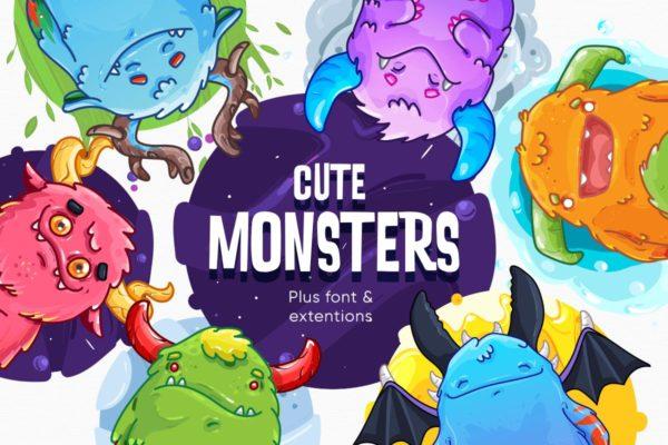 精品时尚可爱小怪物怪兽矢量插画集合-AI,EPS,PNG源文件,编号:82636413