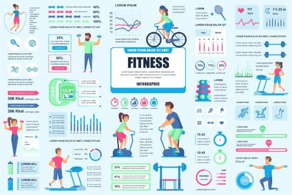 精品健身运动信息数据图表AI,EPS,JPG,PNG,PDF,SVG源文件,编号:82631506