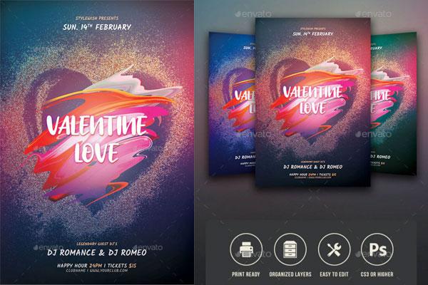 精品浪漫爱心情人节活动海报传单设计源文件,编号:82637215