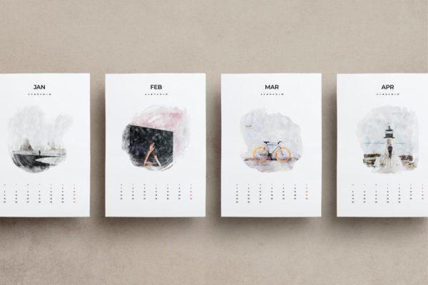 精品手绘中国风国画水墨水彩风格A3尺寸的2021年新年日历台历挂历设计模板源文件,编号:82632990