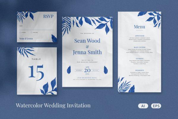 精品时尚简约清新高端水墨水彩婚礼请柬VI设计模板-JPG,EPS,AI源文件,编号:82630788