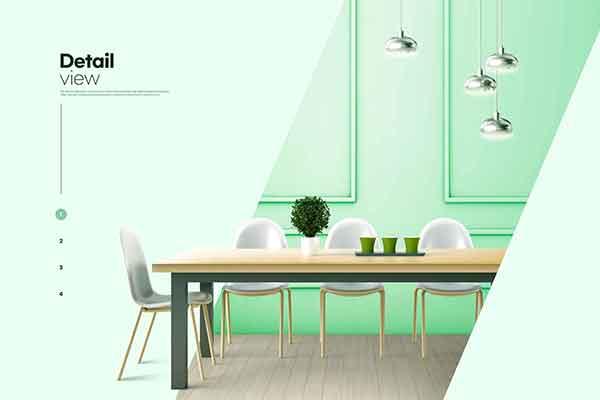 精品绿色主题现代室内家具装饰设计海报psd源文件,编号:82630360
