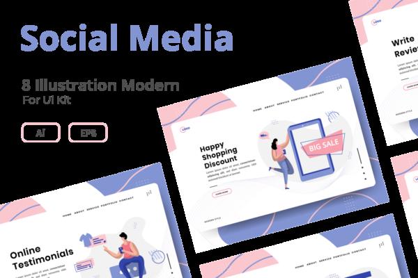 精品简约轻新时尚扁平化风格社交媒体banner着陆页矢量插画海报设计模板集合-AI,EPS,JPG源文件,编号:82635860
