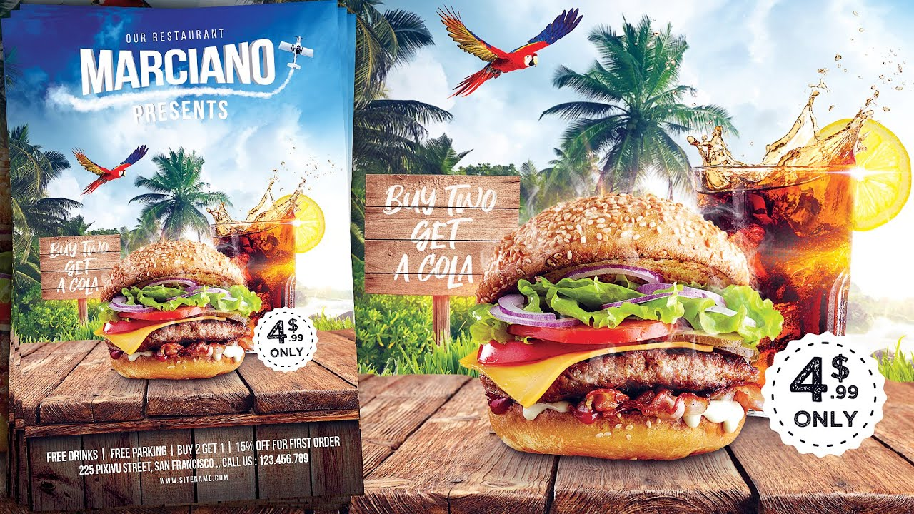汉堡餐厅广告海报/传单设计PS视频教程