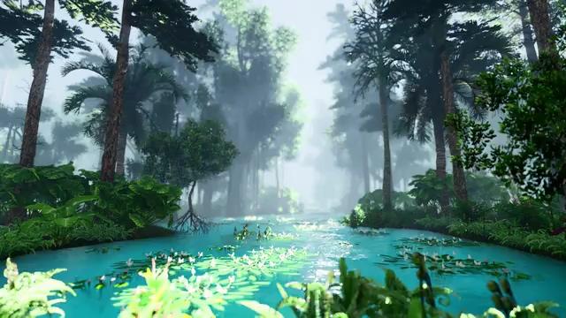 3D渲染的森林有点雾气