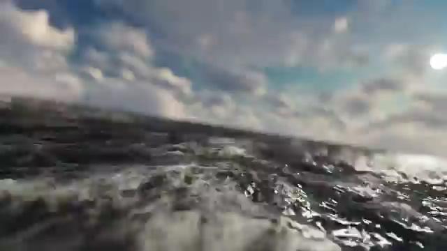 镜头快速穿过海面视频