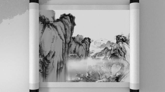 卷轴PR模板中国风水墨系列