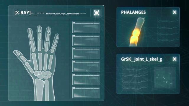 4k手部手指骨骼扫描HUD动画