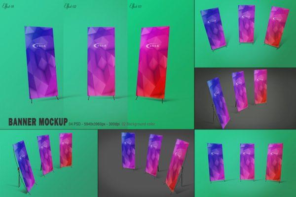 Mockups易拉宝横幅设计模型PSD样机模板,编号:82636502