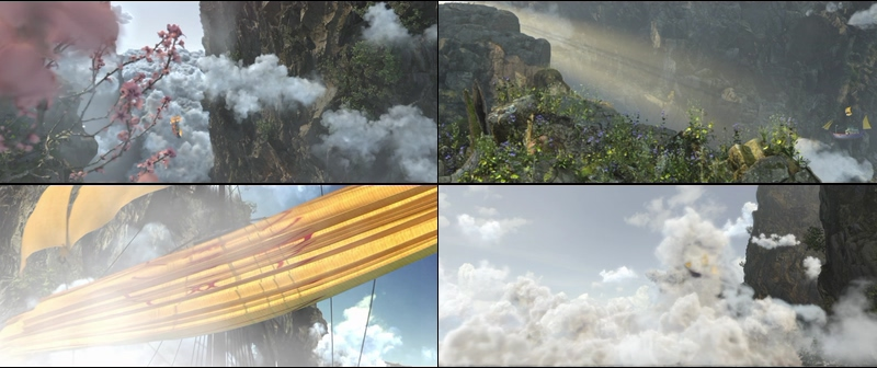 CG在山谷里游荡的云船视频