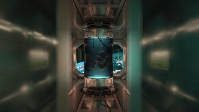 4K打开门看见太空科学实验的人形视频