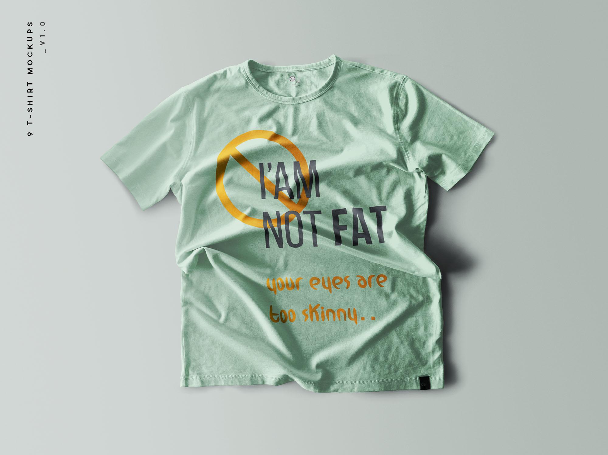 逼真质感的T恤服装设计VI样机展示模型mockupsMockups模板,编号:82629170