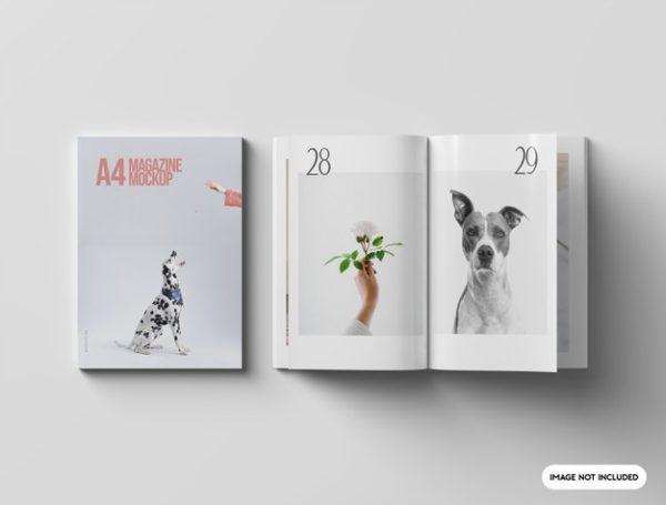 A4杂志书籍封面&内页设计展示样机psd_Mockups模板,编号:82632255