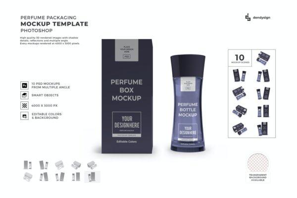 深灰色男士香水包装模型模板集样机PSD_Mockups模板,编号:82625829