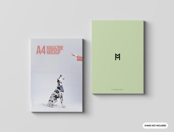 双杂志封面设计顶视图样机psd_Mockups模板,编号:82629928