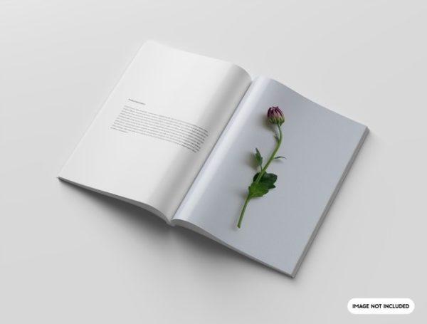 打开的杂志内页设计样机psd_Mockups模板,编号:82625197