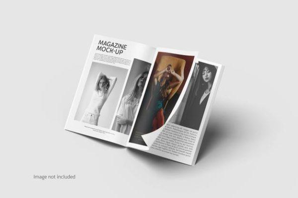 展开翻页效果单独页面展示杂志样机psd_Mockups模板,编号:82624726