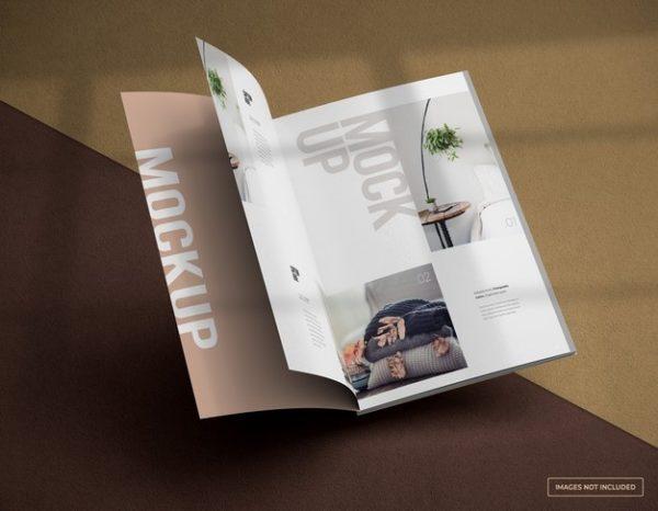 展开的杂志内页模型PSD_Mockups模板,编号:82629467