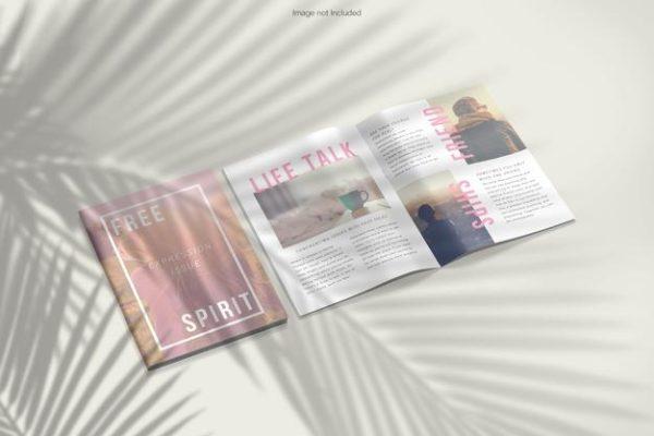 树叶阴影杂志封面内页排版设计psd_Mockups模板,编号:82636789