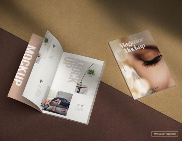 封面与内页杂志展示样机Mockups模板,编号:82623533