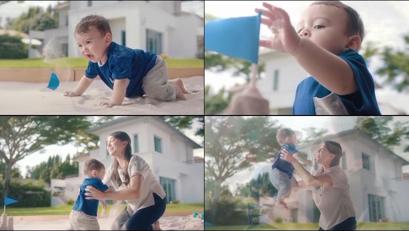 宝宝玩游戏胜利母子拥抱温馨画面视频素材
