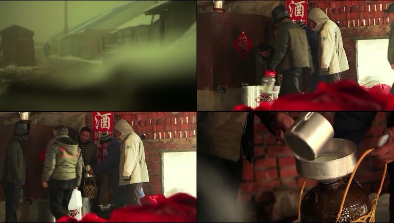 中国农村卖白酒的老百姓视频素材