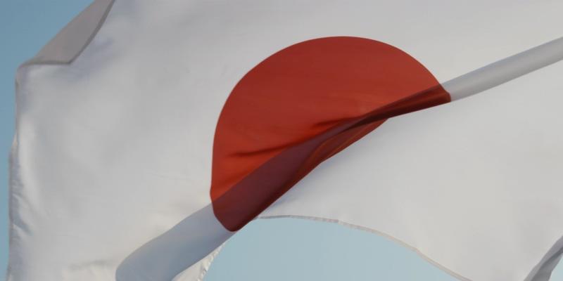 4K日本国旗在杆子上飘扬