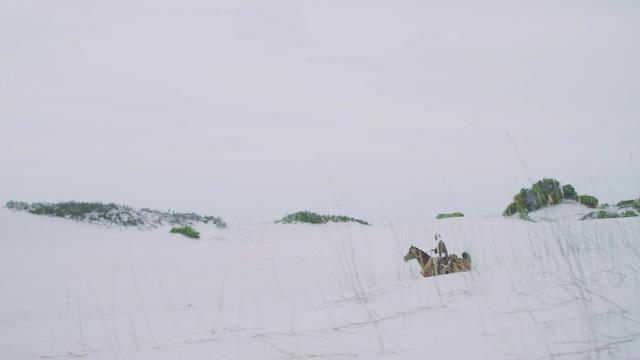 4K透过草看到骑马的阿拉伯人丝绸之路