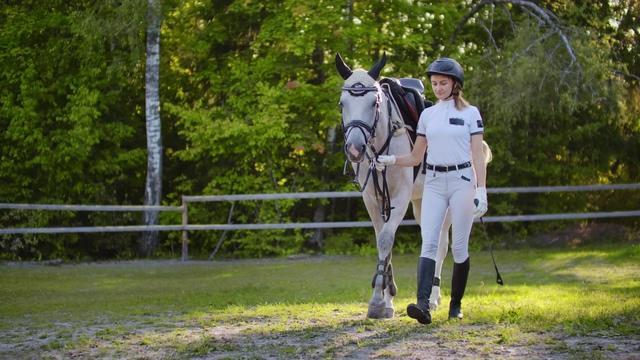 4K牵着马走在马场里的白衣美女视频素材