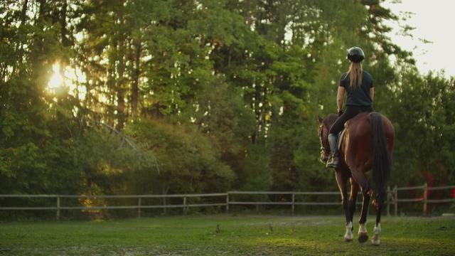 4K在户外骑马的人小清新视频素材
