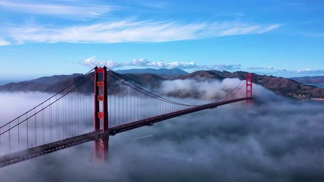 4K清晨旧金山大桥视频素材