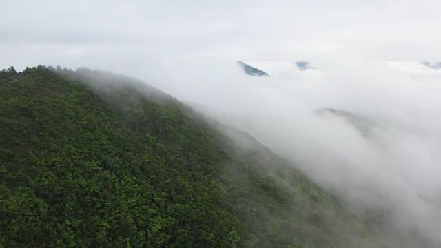 航拍云雾里的山峰视频素材免费下载