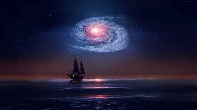 海面上的小船天上的星云视频素材