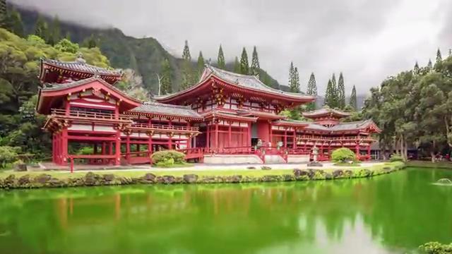 唯美高清的寺庙建筑免费视频素材
