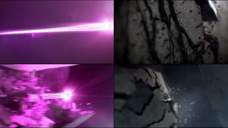 一条紫色的光线冲击破土而出视频素材